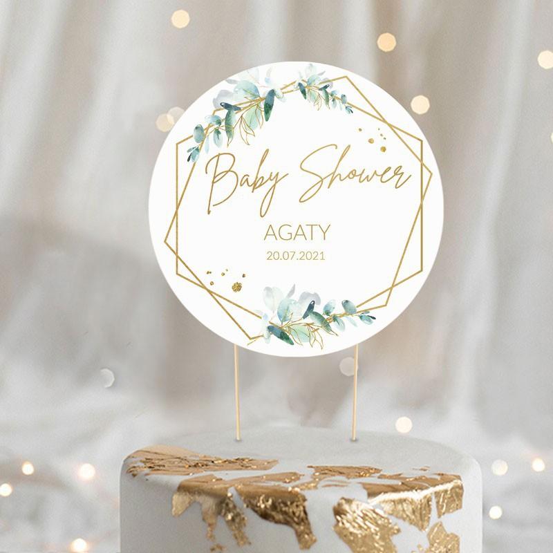 Papierowy topper na tort na Baby Shower w stylu botanicznym