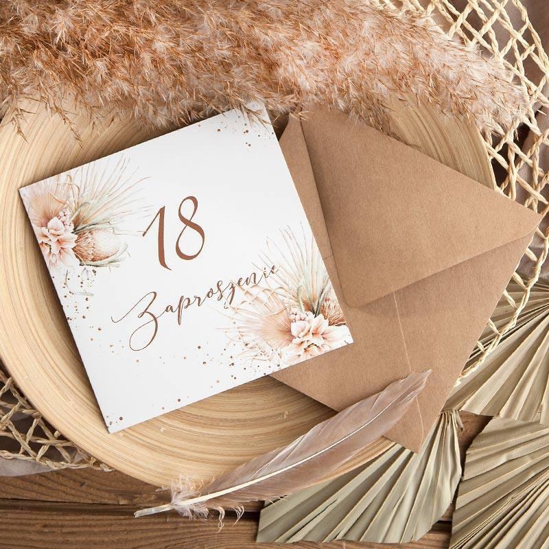 Zaproszenia na 18 urodziny w stylu boho z pampasem