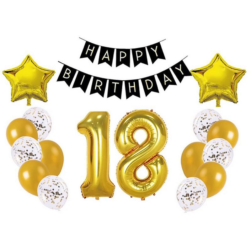 Zestaw dekoracji na 18 urodziny w odcieniu czarno-złotym