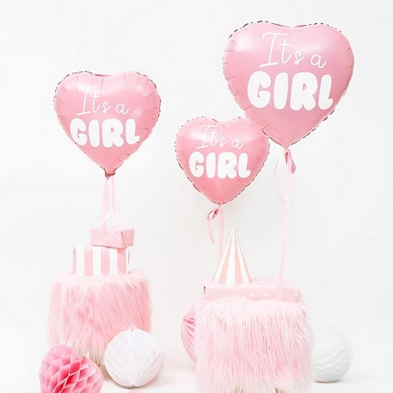 Różowy foliowy balon w kształcie serca z napisem It's a girl