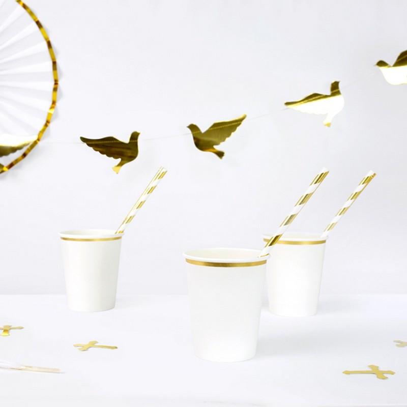 Kubeczki papierowe ze złotym paskiem