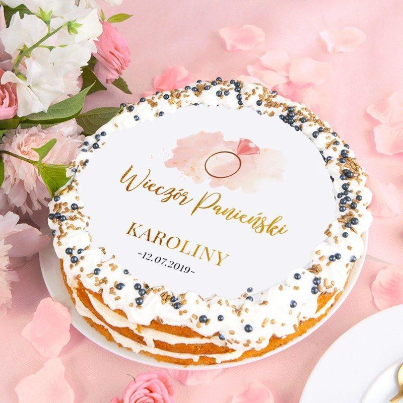 Opłatek na tort z motywem pierścionka na Panieński