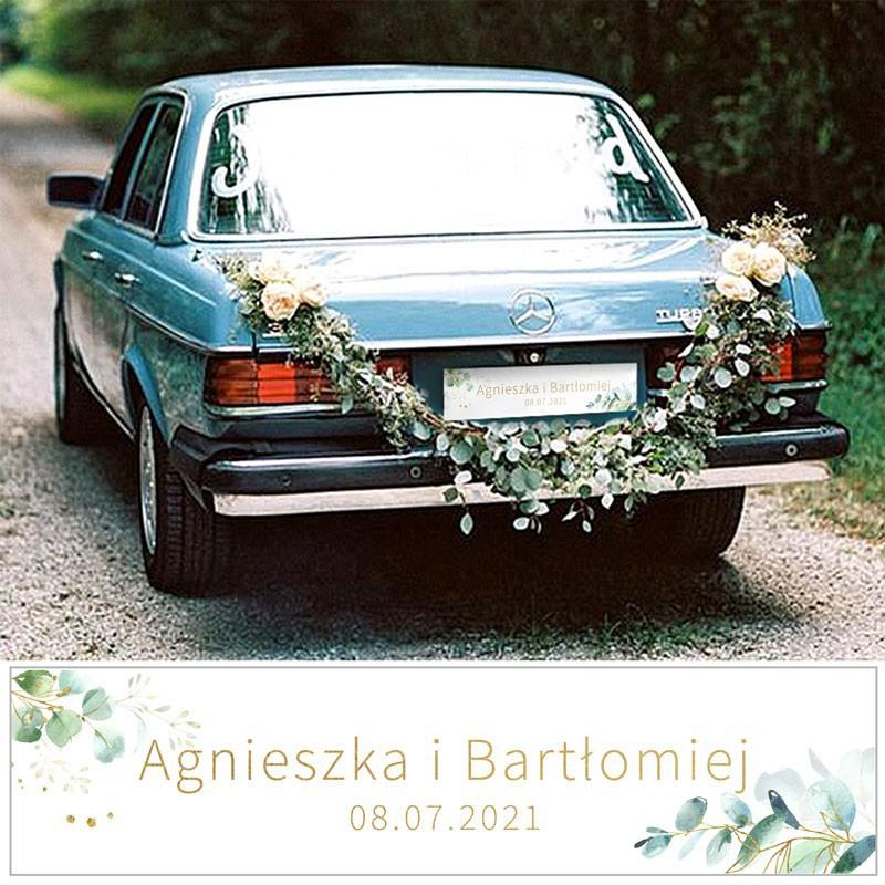 Personalizowane tablice ślubne z motywem gałązki eukaliptusa