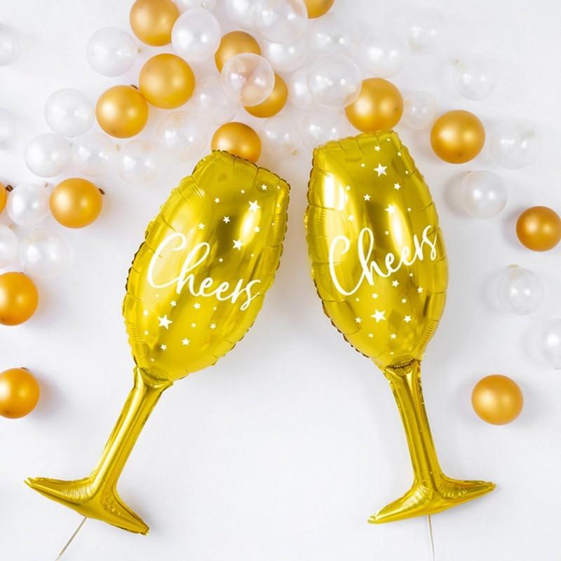 Balony w kształcie kieliszków z napisem Cheers do drink baru na imprezę