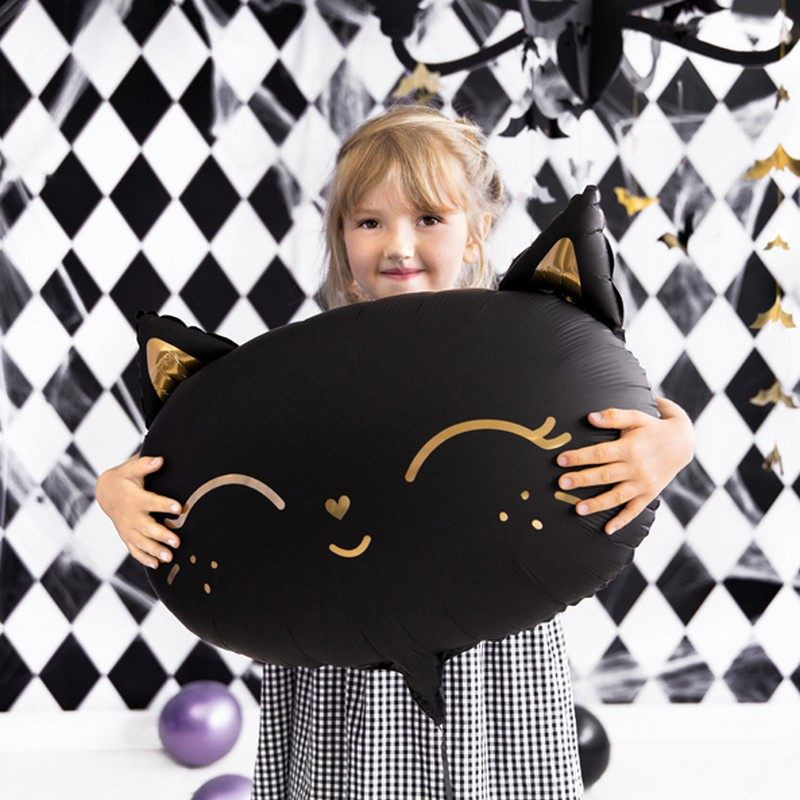 Halloweenowy balon czarny kot