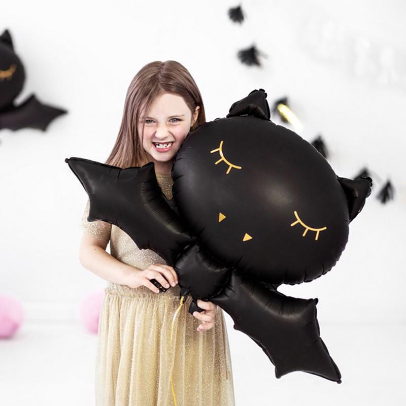 Balon w kształcie czarnego nietoperza ze złoceniami na przyjęcie halloweenowe