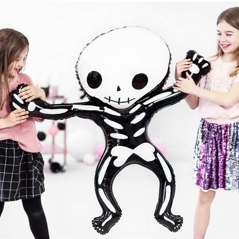 Foliowy balon czarno-biały szkielet kościotrup