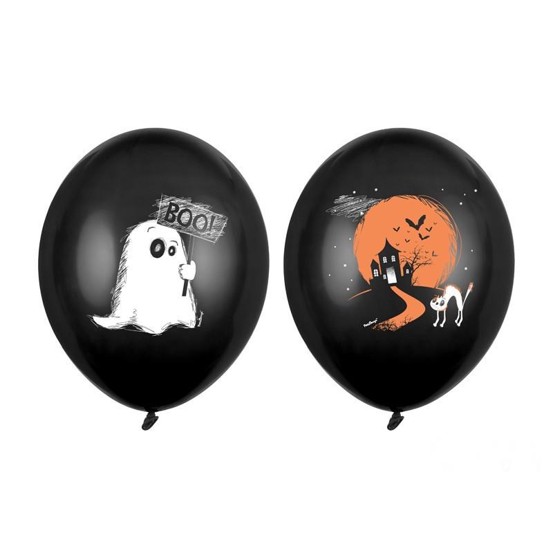 Czarne balony z duszkiem na Halloween