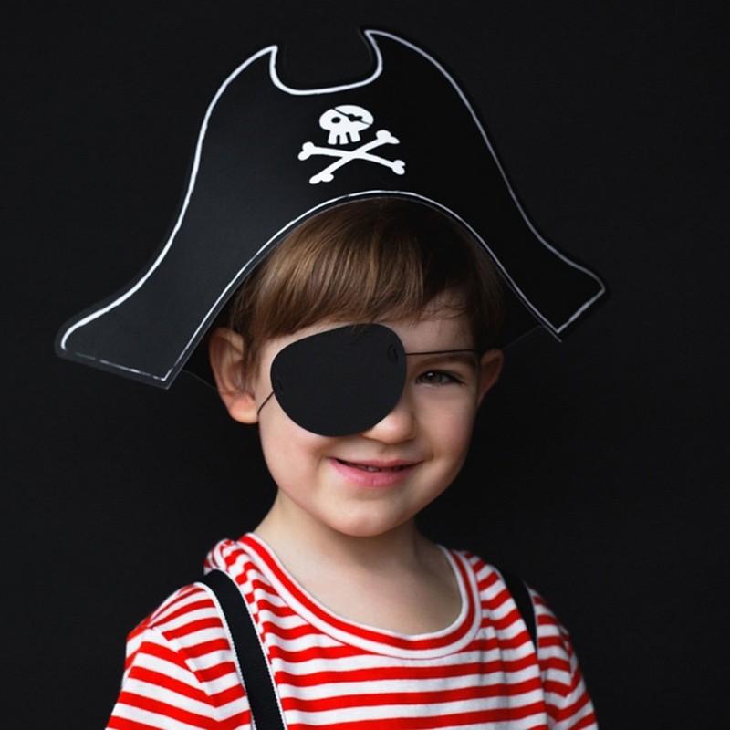 Czapka pirata z opaską na oko na przebranie halloweenowe