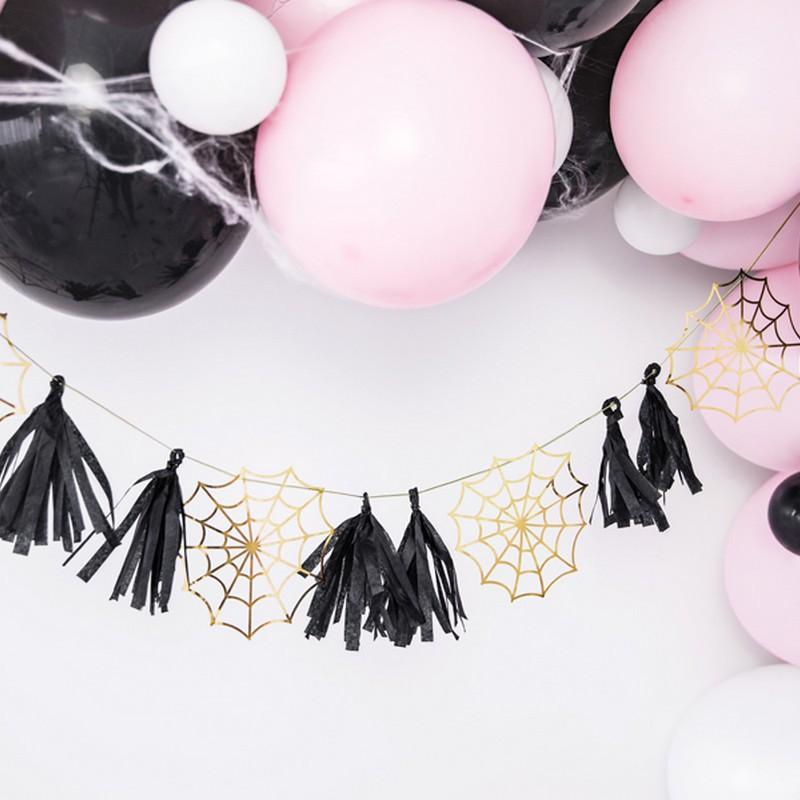 Girlanda na imprezę halloweenową z pajęczynami i frędzelkami