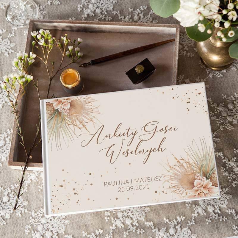 Personalizowana księga Ankiety weselne w stylu boho pampas