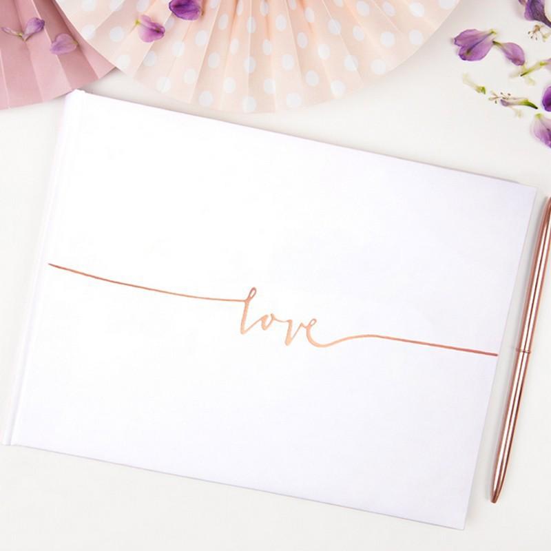 Księga gości ze rosegold napisem Love na panieński