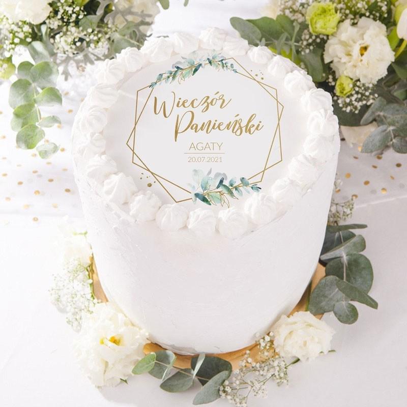 Opłatek na tort na panieński z botaniczną gałązką eukaliptusa oraz personalizacją