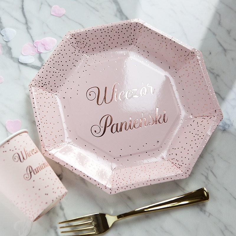 Różowe talerzyki na Wieczór Panieński z metalicznym nadrukiem