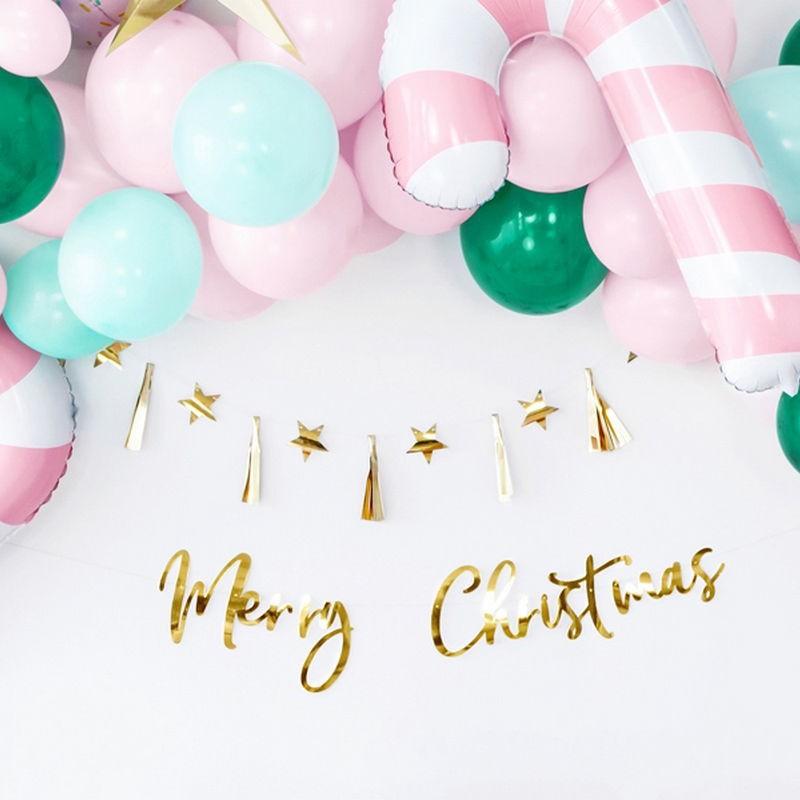 Złoty metaliczny baner Merry Christmas do dekoracji na Święta