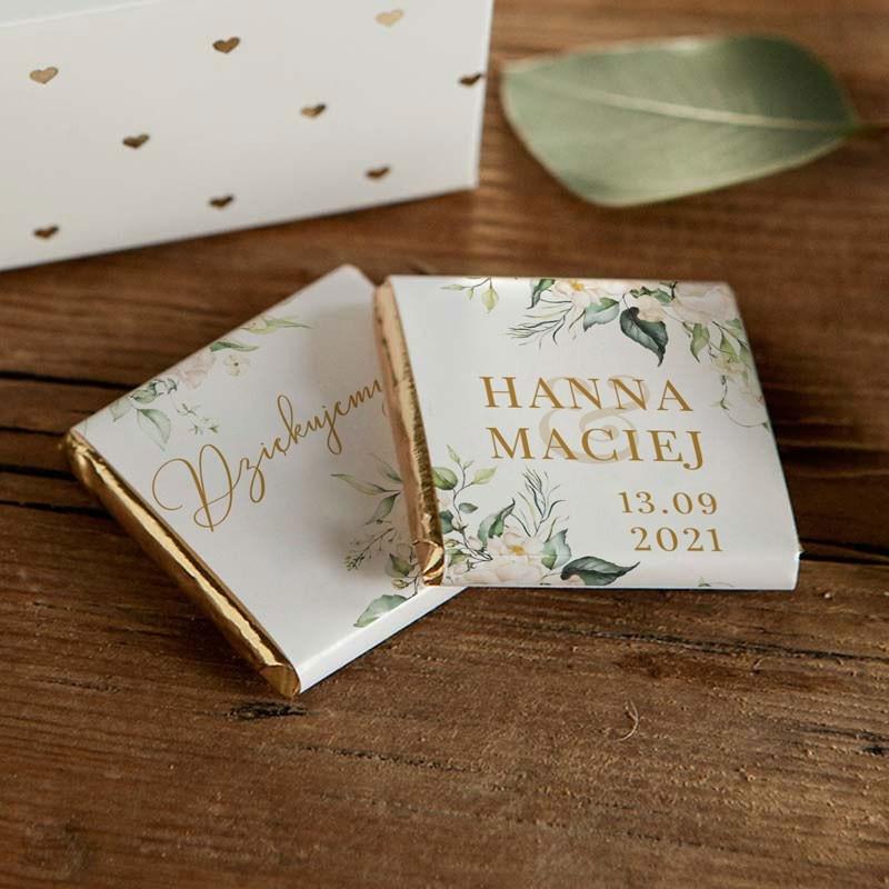 Czekoladka podziękowanie dla gości weselnych z datą i imionami Pary Młodej