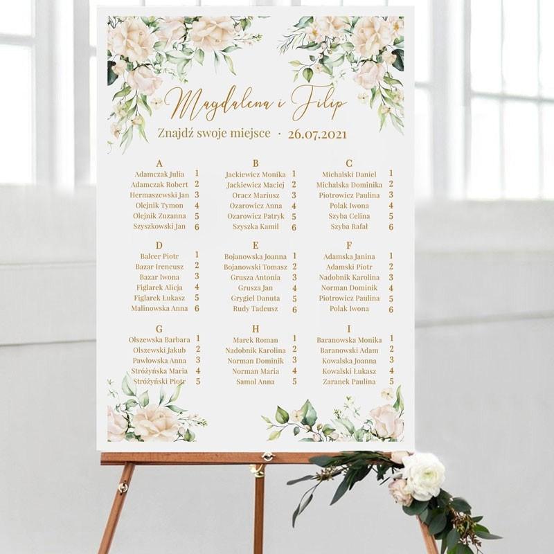 Plan stołów na wesele z imionami Pary Młodej i datą wesela