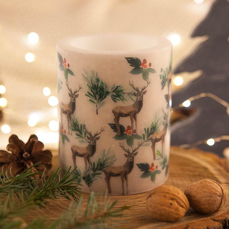 Świąteczna świeca na Boże Narodzenie z nadrukiem reniferów