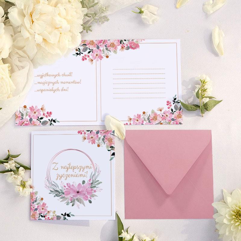 Kartka z życzeniami na komunię różowa