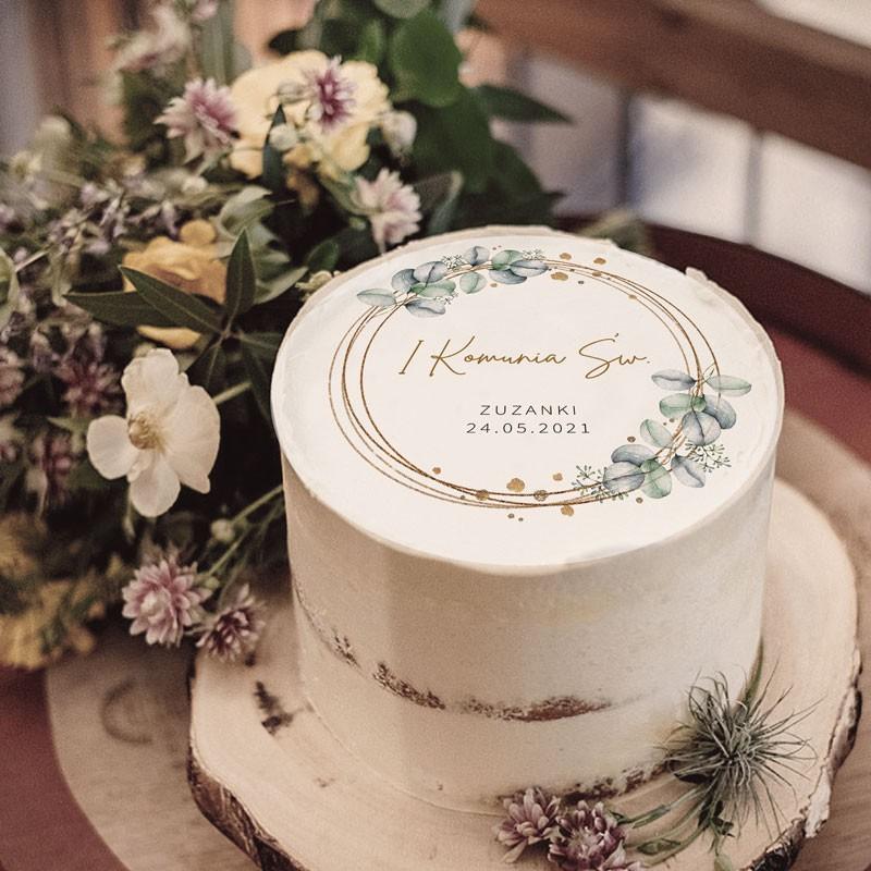 Personalizowany opłatek na tort komunijny botaniczny