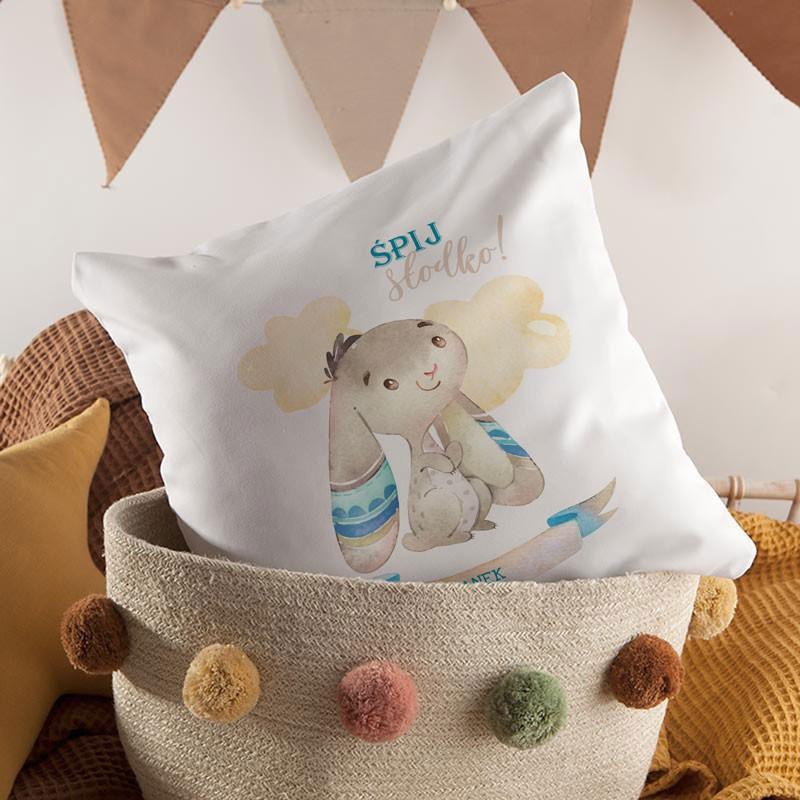 Poduszka dla chłopca Niebieski Króliczek