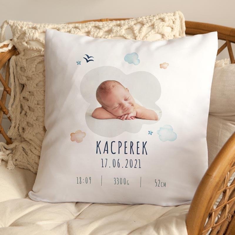 Poduszka z fotografią na narodziny