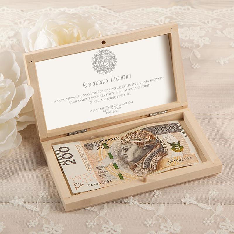 Pudełko na pieniądze z motywem srebrnej hostii
