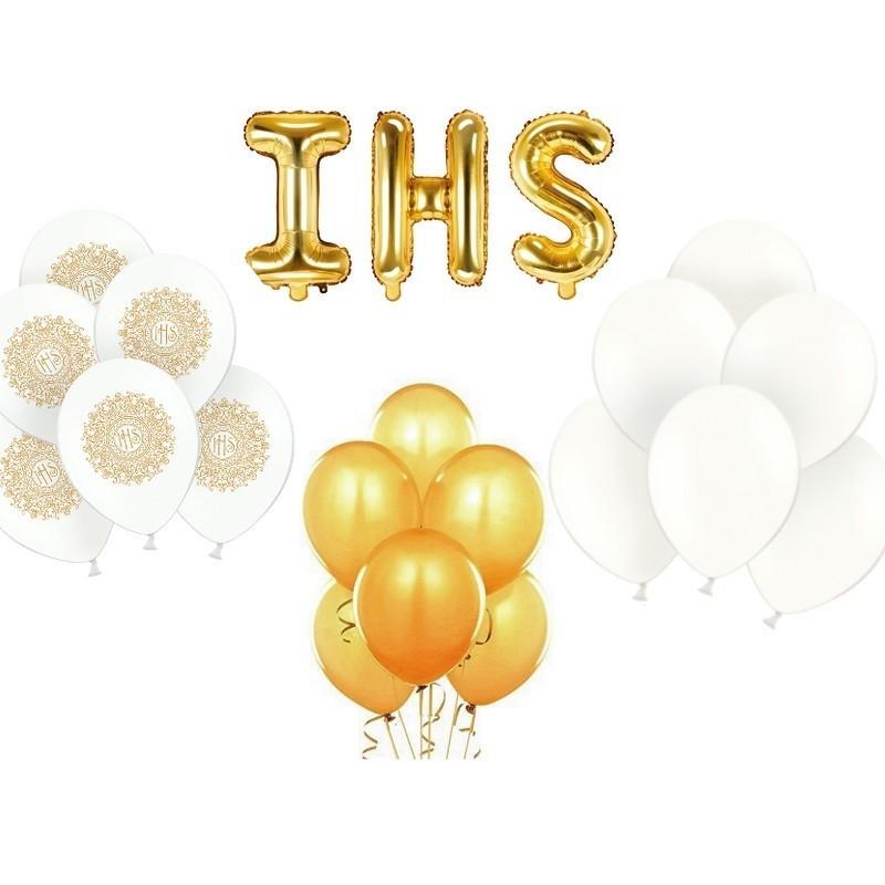 Zestaw balonów biało-złotych na komunię
